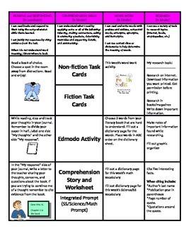 5th Grade Reading Choice Board