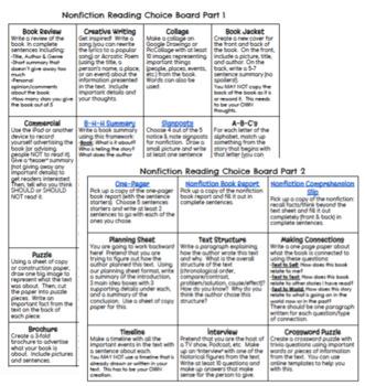 5th Grade Reading Choice Boards BUNDLE