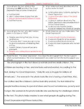 5th Grade Reading Comprehension Quizzes & Constructed Response Practice | FREE