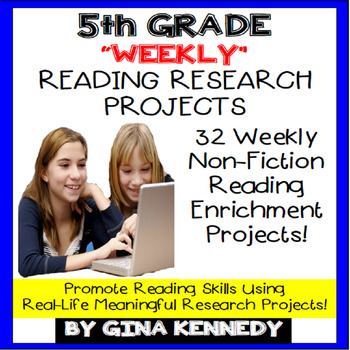5th Grade Reading Enrichment Projects, Weekly Research Pro