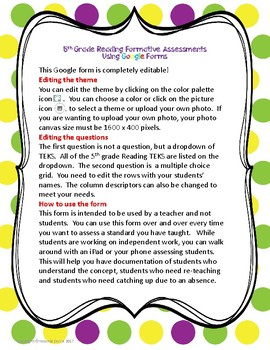 5th Grade Reading Formative Assessments