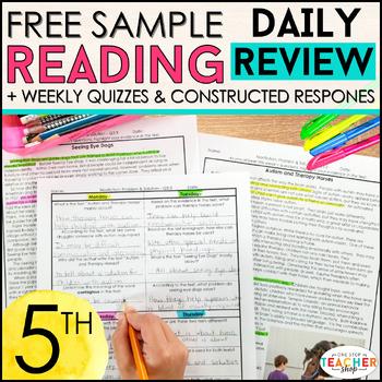 5th Grade Reading Homework 5th Grade Morning Work Reading Comprehension FREE