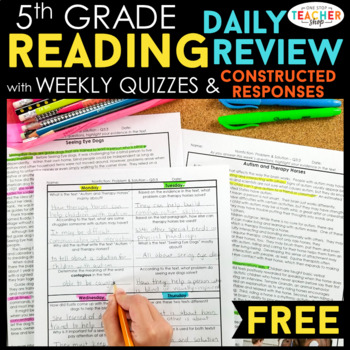 5th Grade Reading Review | Homework or Morning Work FREE