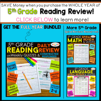 5th Grade Reading Review | Homework or Morning Work FREE | TpT
