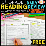5th Grade Reading Homework & Quizzes with Constructed Resp