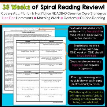 5th Grade Reading Homework or Morning Work   5th Grade Reading Comprehension