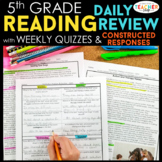 5th Grade Reading Spiral Review | Reading Comprehension Passages BUNDLE