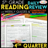 5th Grade Reading Spiral Review | Reading Comprehension Passages | 4th Quarter