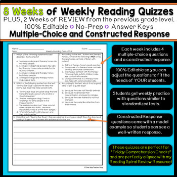 5th Grade Reading Spiral Review | Reading Comprehension Passages | 1st Quarter
