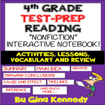 4th Grade Reading Interactive Notebook! Review Important Reading Standards!