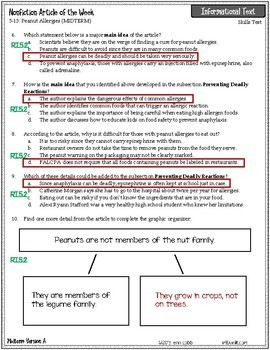 5th Grade Reading Informational Text MIDTERM EXAM | Article #5-13 Peanut Allergy