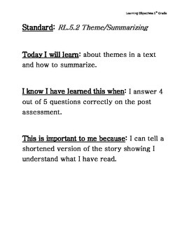 5th Grade Reading Learning Objectives