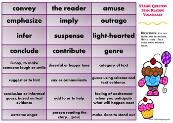 5th Grade Reading: STAAR Question Stem Vocabulary Activities