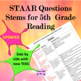 5th Grade Reading STAAR Question Stems 2016-2019  with the