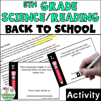 5th Grade Reading/Science First Day of School Activity