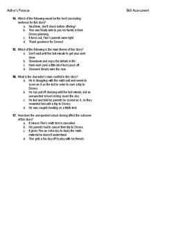 5th Grade Reading Skill Assessment and Key: Interpreting Figurative Language