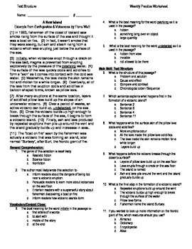 5th Grade Reading Skill Practice Worksheet & Key: Chron. Order Text Structure
