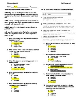 5th Grade Reading Skill Practice Worksheet & Key:  Reference Materials