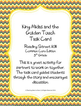 5th Grade Reading St. Task Card- King Midas and the Golden
