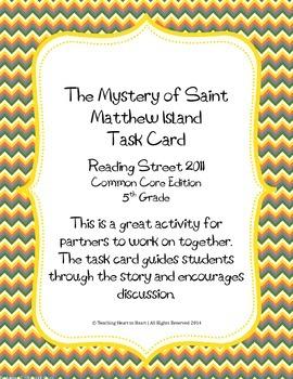 5th Grade Reading St. Task Card- The Mystery of Saint Matthew Island (CC 2011)