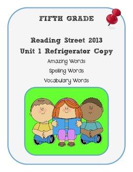 5th Grade Reading Street 2013 Unit 1 Refrigerator Copy