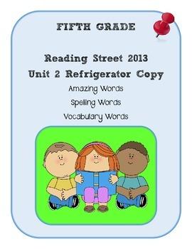 5th Grade Reading Street 2013 Unit 2 Refrigerator Copy