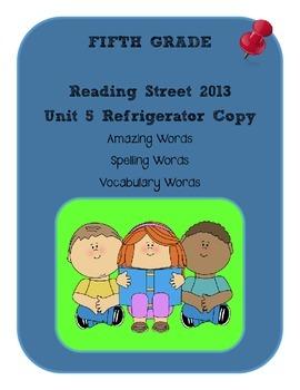 5th Grade Reading Street 2013 Unit 5 Refrigerator Copy