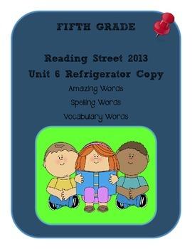 5th Grade Reading Street 2013 Unit 6 Refrigerator Copy
