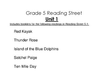 5th Grade Reading Street Activity Pack - Unit 1