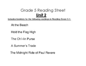 5th Grade Reading Street Activity Pack - Unit 2