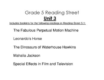 5th Grade Reading Street Activity Pack - Unit 3