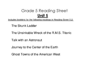5th Grade Reading Street Activity Pack - Unit 5