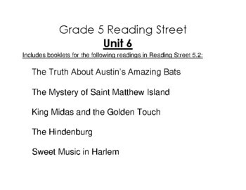 5th Grade Reading Street Activity Pack - Unit 6