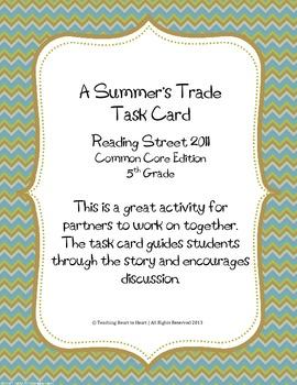 5th Grade Reading Street Task Card- A Summer's Trade (Comm