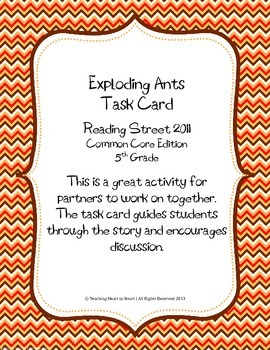 5th Grade Reading Street Task Card- Exploding Ants (Common Core Edition 2011)