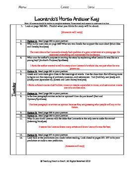 5th Grade Reading Street Task Card- Leonardo's Horse (Common Core Edition 2011)