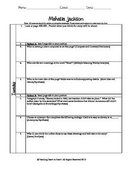 5th Grade Reading Street Task Card- Mahalia Jackson (Common Core Edition 2011)