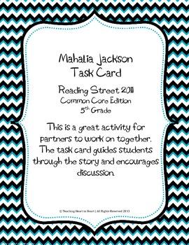 5th Grade Reading Street Task Card- Mahalia Jackson (Commo