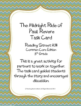 5th Grade Reading Street Task Card-Midnight Ride of Paul Revere(CC Edition 2011)