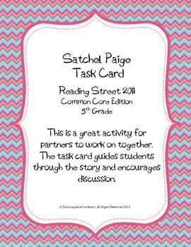 5th Grade Reading Street Task Card- Satchel Paige (Common Core Edition 2011)