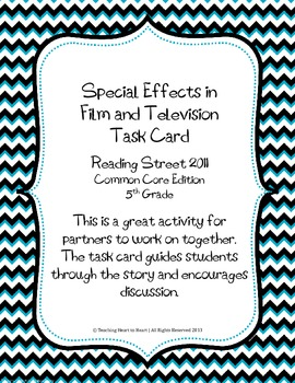 5th Grade Reading Street Task Card- Special Effects in Fil