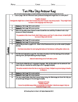 5th Grade Reading Street Task Card- Ten Mile Day (Common Core Edition 2011)