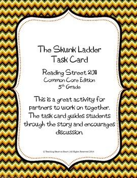 5th Grade Reading Street Task Card- The Skunk Ladder (Comm