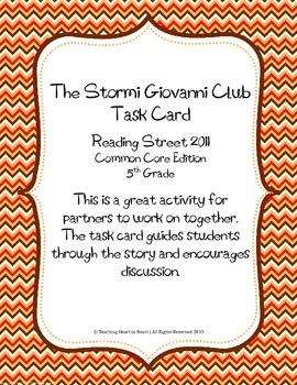 5th Grade Reading Street Task Card- The Stormi Giovanni Cl