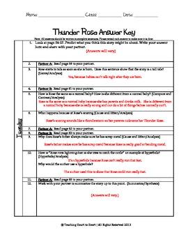5th Grade Reading Street Task Card- Thunder Rose (Common Core Edition 2011)