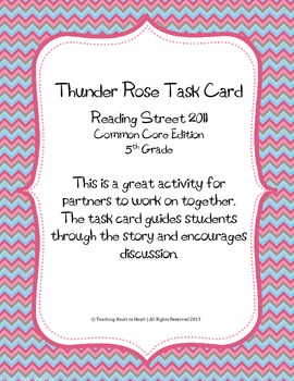 5th Grade Reading Street Task Card- Thunder Rose (Common Core Edition 2011)