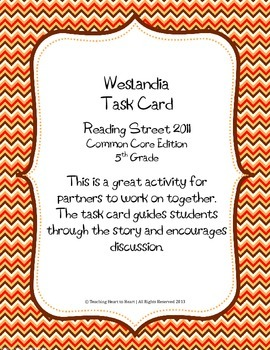 5th Grade Reading Street Task Card- Weslandia (Common Core Edition 2011)