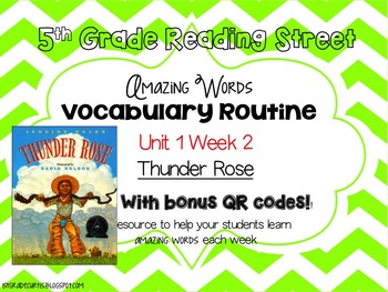 5th Grade Reading Street: Unit 1 week 2: Thunder Rose Vocabulary