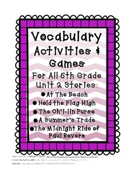 Reading Street 5th Grade Unit 2 Complete Set of Vocabulary Activities and Games