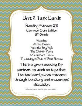 5th Grade Reading Street Unit 2 Task Cards (Common Core Ed